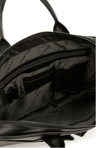 Siyah Ekose Desenli Deri Laptop Çantası