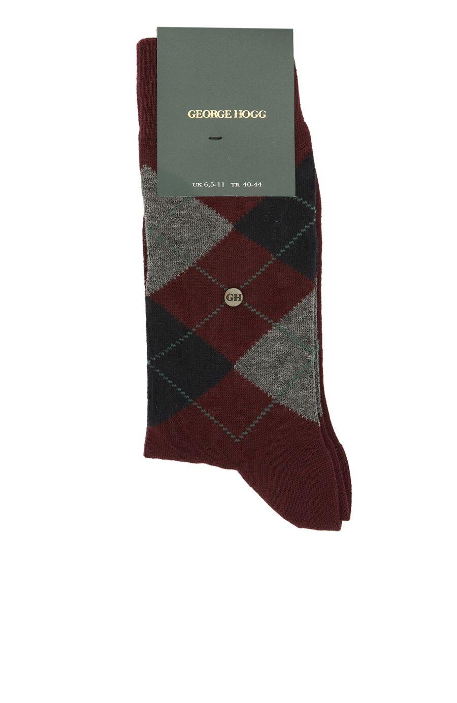 Bordo Geometrik Desenli Logolu Erkek Çorap