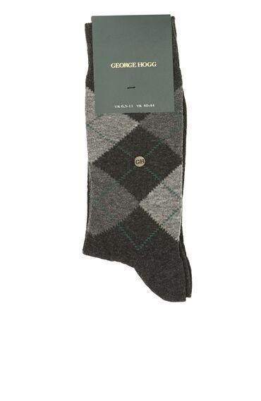 Gri Geometrik Desenli Logolu Erkek Çorap